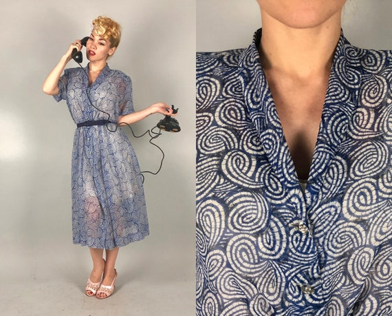 1940s Voile Swirls Dress | Vintage 40s Sheer Blue and White Short Sleeve Day Dress with Rhinestone Bauble Buttons Volup | Extra Large XL