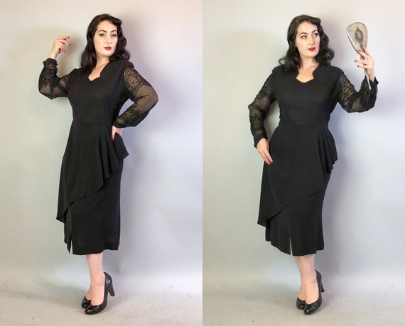 Vintage 1940s Dress   40s Volup Ink Black Rayon Crepe Evening Cocktail Gown w/Cascading Peplum & Sheer Soutache Sleeves LBD   Extra Large XL