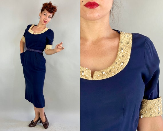 1940s Wendy's Wonderful Wiggle Dress | Vintage 40s Blue Rayon Crepe & Ivory Lace Faille Cocktail Frock w/Pockets Rhinestones Beads | Medium