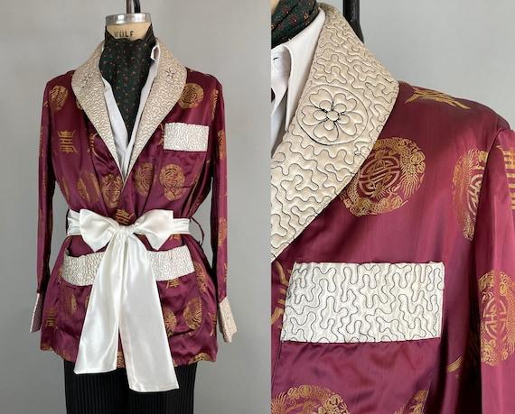 1950s Debonaire Dan Smoking Jacket | Vintage 50s Bright Mauve Golden Asian Dragon Medallion Silk Brocade Lounge Robe | Large Extra Large XL