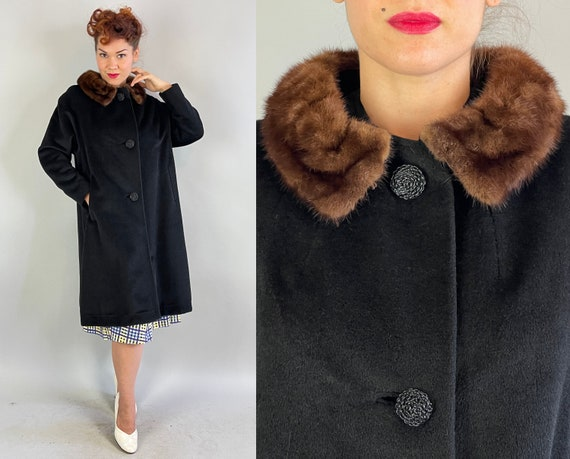 "1950s ""Marvelous Mingora"" Coat | Vintage 50s Black Wool and Fur Fiber Sheath Swing Jacket with Brown Mink Collar and Pockets | Medium"