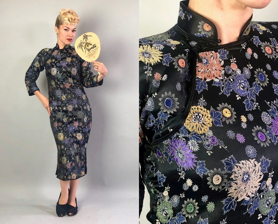 1940s Silk Cheongsam | Vintage 40s Black Floral Qipao Traditional Asian Dress with Silver & Gold Flowers Evening Cocktail Gown | Small