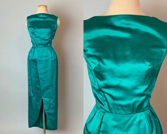 1950s Jade Green Evening Gown | Vintage 50s Silk Sleeveless Full Length Cocktail Party Formal Bombshell Dress w/Petal Hem | XS Extra Small