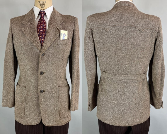 1930s Tweed Belted Back Jacket | Vintage 30s Coffee & Cream Wool Blazer Sport Coat with Patch Pockets and 2x Peaked Yoke | Size 38-40 Medium