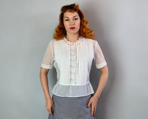 "1950s Semi Sheer Secretary Blouse | Vintage 50s White ""Eclipse"" Button Back Blouse w/ Floral Neck & Center, Framed with Knife Pleats 