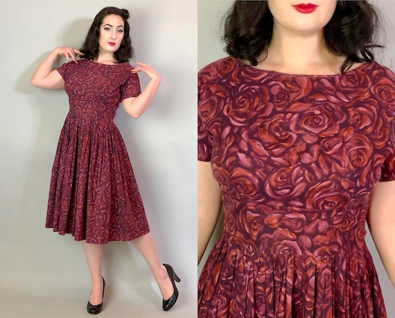 1950s Impressionistic Roses Dress | Vintage 50s Hues of Purple & Burgundy Red Floral Cotton Novelty Print Day Dress by 'Mode O Day' | Large