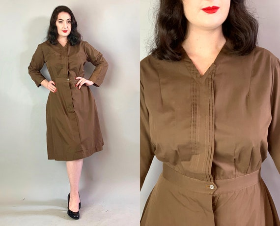"1940s Cable Girls Shirt Dress | Vintage 40s Coffee Brown Long Sleeved Cotton Frock Uniform from ""Symphony"" and ""Saks Fifth Avenue"" 
