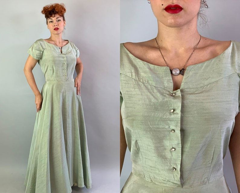 1950s Princess Patty Evening Gown  Vintage 50s Sage Green image 0
