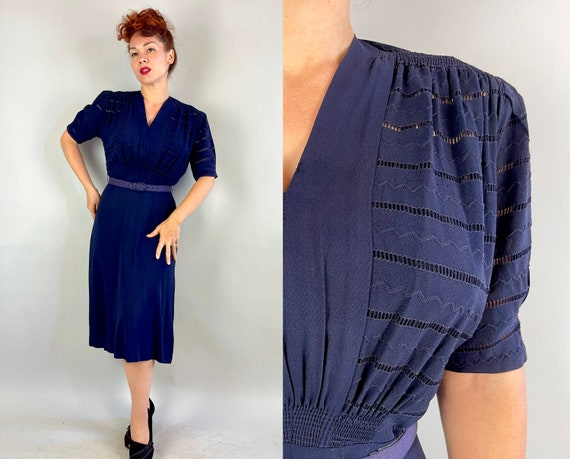 1930s Blossom in Blue Dress | Vintage 30s Navy Rayon Crepe Puff Sleeve Frock with Trapunto & Stripes of Fagoting | Medium Large