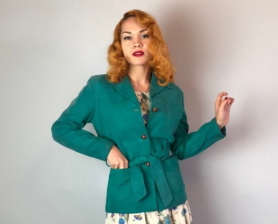 "1950s Teal Suede Belted Jacket | Vintage 50s Blue Green Womens ""Trego's Westwear"" Coat with Brown Leather Knot Buttons & Two Pockets!