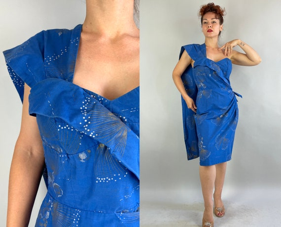 1950s Tropical Temptress Dress | Vintage 50s Azure Blue Cotton Tiki Gold and Silver Fireworks Hawaii Frock w/Shoulder Sash | Small Medium