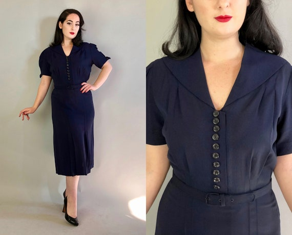 1940s Rayon Crepe Dress | Vintage 40s Navy Blue Day Dress w/Puffed Sleeves Shawl Collar Decorative Black Buttons and Matching Belt | Large
