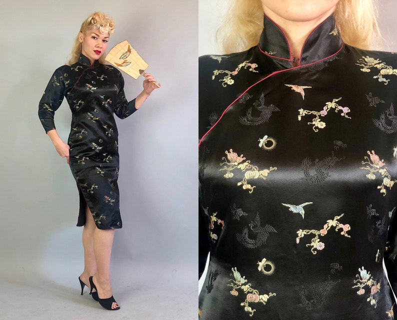 1950s Silk Satin Cheongsam Vintage 50s Black Long Sleeve  3750e42ed4b0