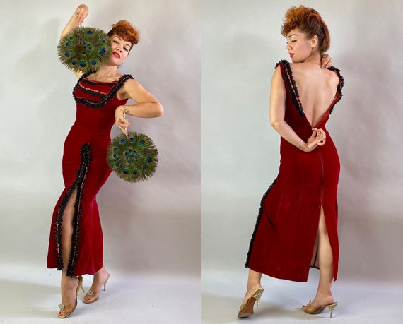 1940s Gypsy's Gimmick Gown | Vintage 40s Rose Red Rayon Velvet Burlesque Dress w/Sequins + Black Lace Trim Slit & Extra Long Zipper | Small