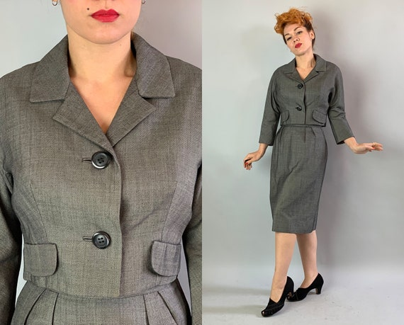 1950s Smart Grey Skirt Suit | Vintage Early 50s Gray Wool Two Piece Set with Cropped Blazer Jacket w/Peaked Lapels & Pencil Skirt | Small