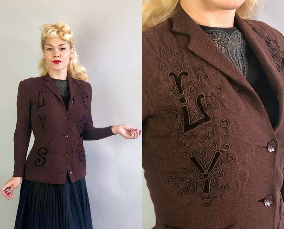 1930s Soutache & Trapunto Blazer | Vintage 30s Dark Chocolate Brown Wool Knit Cardigan Jacket with Velvet Monogram Letters | Extra Small XS