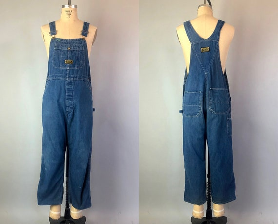 "Vintage 1950s Mens Overalls | 50s Sanforized Blue Denim ""Washington Dee Cee"" Overalls Made in U.S.A. by ""Washington Mfg Co"" 
