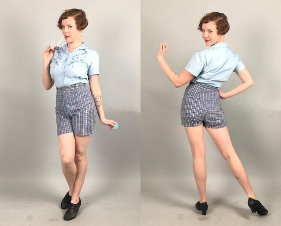 Vintage 1950s Shorts | 50s Blue and White Plaid Tartan Cotton Shorts with Adjustable Waist Tabs | Small Extra Small XS