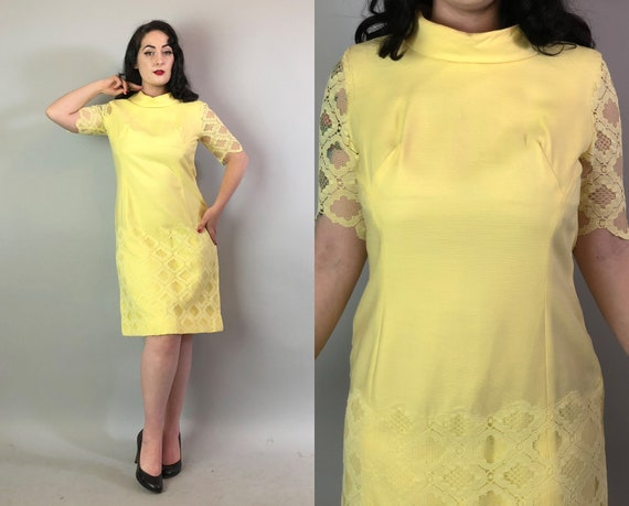 Vintage 1960s Dress | 60s Midcentury Baby Chick Yellow Shift Dress with Lace Overlay and Lace Sleeves with Diamond Pattern | Medium