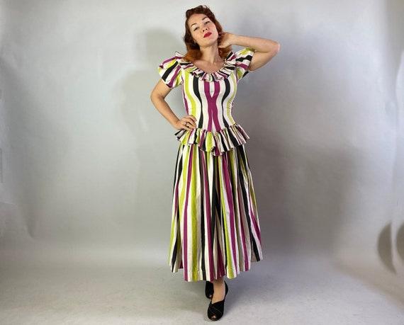 1940s Big Top Ball Gown   Vintage 40s Cotton Dres… - image 5