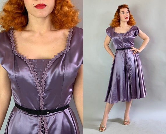 1940s Starlet Cocktail Frock | Vintage 40s Lilac Purple Silk Satin Evening Party Dress with Knife Pleated Front and Full Skirt | Medium