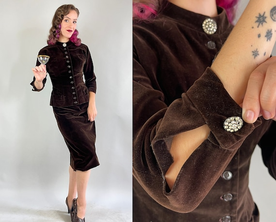 1940s Holiday Espresso Suit | Vintage Dark Brown Velveteen Jacket Top with Rhinestones & Skirt Evening Cocktail Set | Extra Small XS