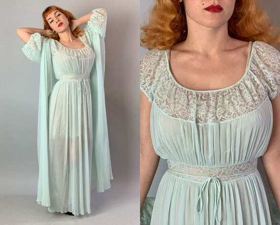 "1950s Happy Honeymoon Pegnoir Set | Vintage 50s Seafoam Green Accordion Pleated Nylon and Lace Negligee Nightgown and Robe By ""Barbizon"""