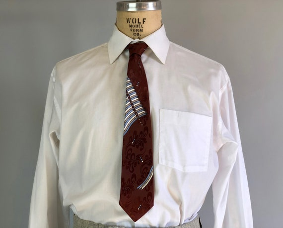 """1950s Silk Brocade Necktie   Vintage 50s Wide Burgundy Red Tie with Light Blue and White Striped and Dots by """"The Emporium San Francisco"""""""