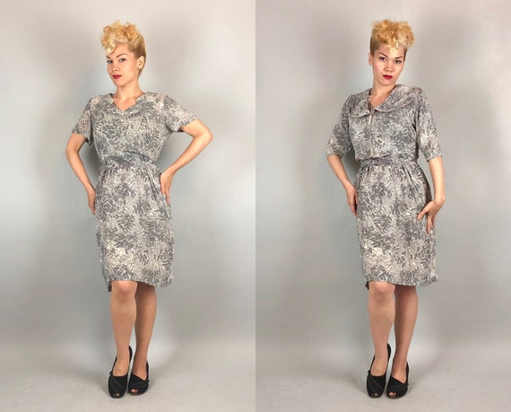 1950s Three Piece Dress Set | Vintage Early 50s Frock W/ Bolero Jacket & Belt In Sheer Grey Gray Paint Stroke Print | Extra Large XL Volup