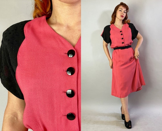 1940s Color Block Cutie Dress | Vintage 40s Coral Pink & Black Wool Crepe Two-Tone Frock with Faceted Buttons Volup | Extra Large XL