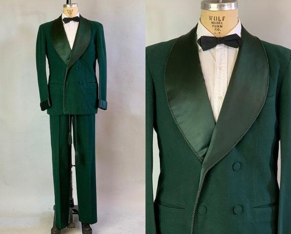 1930s Debonair Smoking Set | Vintage 30s British Racing Green Wool and Silk Satin Loungewear Jacket and Trousers with Cord Trim | Size 40