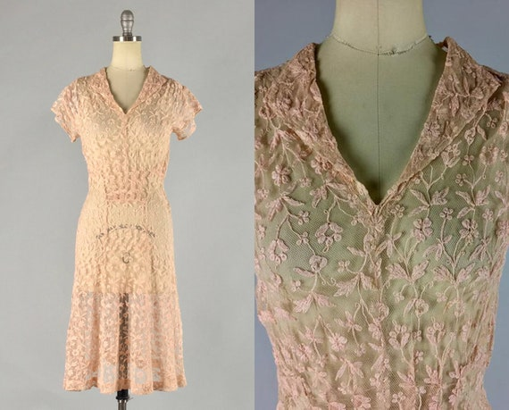 1930s Cotton Candy Frock | Vintage 30s Pale Pink Floral Lace Gatsby Day Dress | XS Extra Small