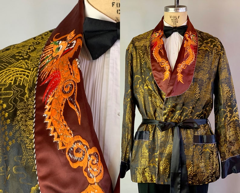 1950s Dragon Lord Smoking Jacket  Vintage 50s Black and Gold image 0