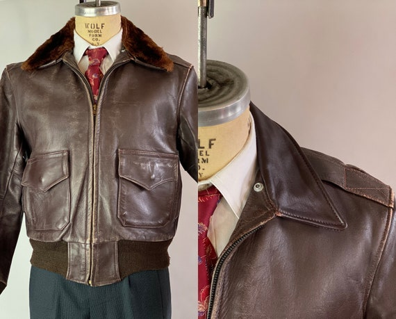 1940s The Wild One Jacket | Vintage 40s Brown Horsehide Leather Motorcycle A-2 Flight Bomber w/Double Pockets & Knit Cuffs | Size 40 Medium