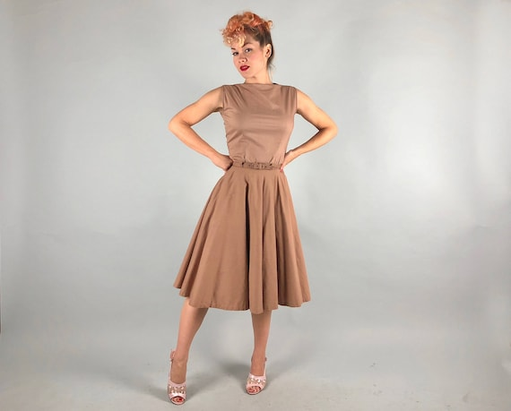 "1950s Mocha Three Piece Dress Set | Vintage 50s Cotton Brown Blouse Skirt & Self Belt Day Dress with Crinoline by ""Fritz's"" 