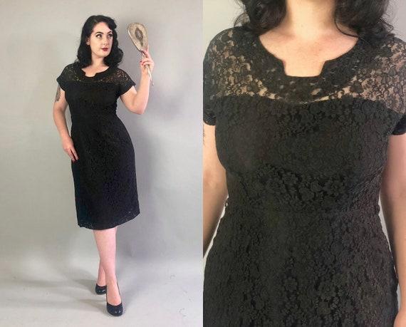 1940s Lace Cocktail Dress | Vintage 40s Black Pencil Dress with Cutout Sheer Lace Neckline Knee-Length Little Black Party Dress LBD | Medium