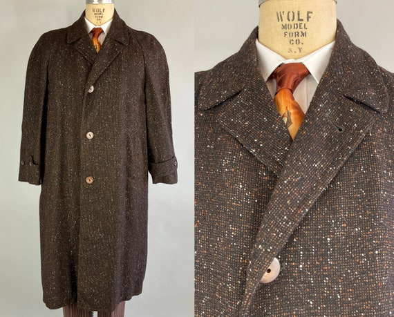 """1950s Fancy Fall Flecked Overcoat 