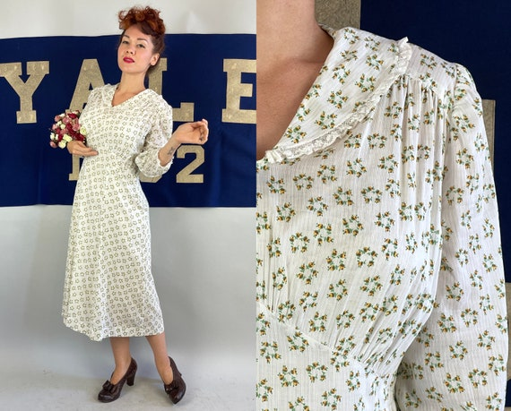 1930s Country Cutie Frock | Vintage 30s White Yellow Green Brown Flower Print Ribbed Cotton Shawl Collar Dress  | Large Extra Large XL