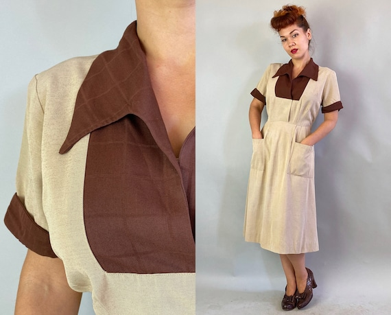 1940s Natural and Neutral Color Block Dress | Vintage 40s Oatmeal Frock with Chocolate Brown Windowpane Accents and Large Pockets | Large