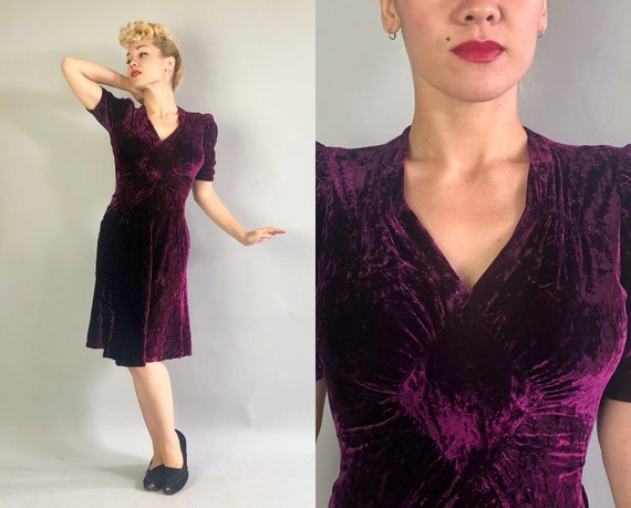 1930s Cabernet Crushed Velvet Dress | Vintage 30s Purple Red Silk Art Deco Cocktail Dress with Ruched Puffed Sleeves And Belted Back | Small