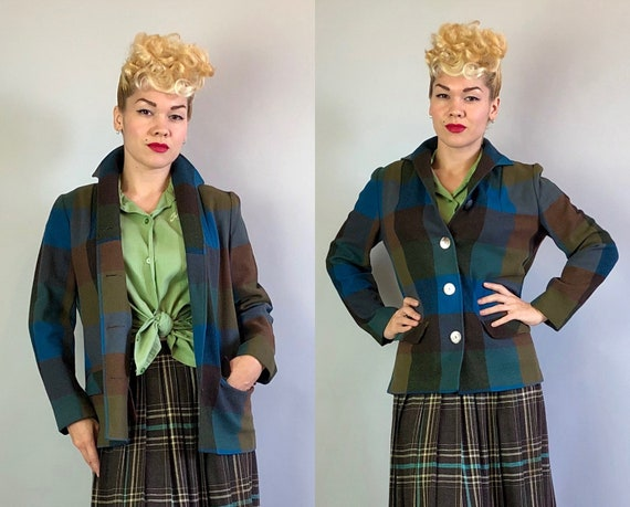 """1940s 49er Camp Jacket   Vintage 40s Wool Brown Turquoise Olive Green & Blue Herringbone """"Pendleton"""" Coat w/Mother of Pearl Buttons   Small"""