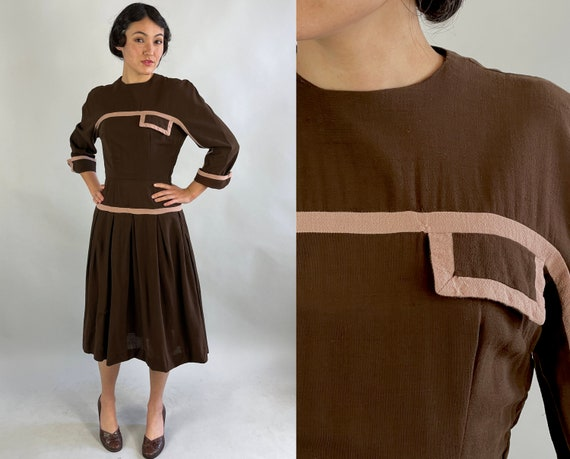 1940s Two Tone Tilly Frock | Vintage 40s Chocolate Brown and Dusty Pink Color Block Wool Frock w/Box Pleats and Faux Pocket | Extra Small XS