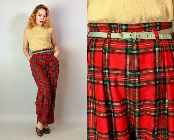 1940s Tartan Plaid Trousers | Vintage 40s Red, Black, and Yellow Wool Pants High Waisted Trews with Sage Green Belt and Pockets! | Medium