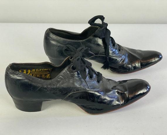 "1910s Lap of Luxury Shoes | Vintage Edwardian Teens Antique Black Patent Leather Four Hole Lace Up Heels by ""Walton's Wauk-EZ"" | Size US 5-6"