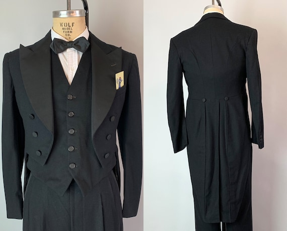 1930s Formal Tuxedo Tails Suit | Vintage Mens 30s Black Wool Tailcoat Tux w/ Silk Faille Lapel, Buttons, & Striped Trousers | Size 38 Medium