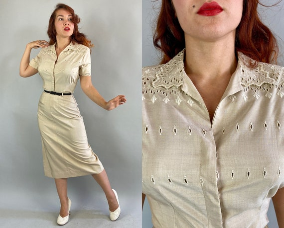 1940s Put Together Patty Dress Set | Vintage 40s Ivory White Raw Silk Eyelet Embroidery Padded Shoulder Blouse Top and Pencil Skirt | Small