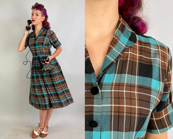 1940s Sally's Sweet Plaid Dress   40s Vintage Teal Chocolate Brown and White Cotton Shirtwaist Frock with Black Velvet Buttons   Small