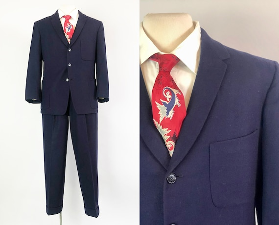 1950s Mens Dated Suit | 50s Vintage Navy Blue Wool Single Breasted Jacket and Hollywood Waist Pants Marked December 2 1954! | Size 36 Small