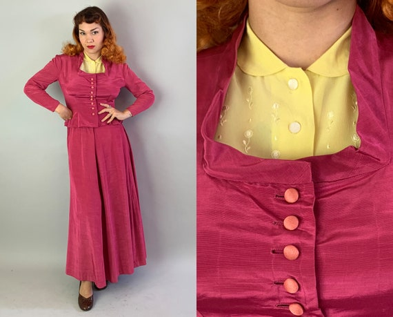 1940s Grand Dame Dress Set | Vintage 40s Hot Pink Moire Silk Faille Hourglass Jacket and Long Skirt Suit w/ Self Buttons and Pleats | Medium
