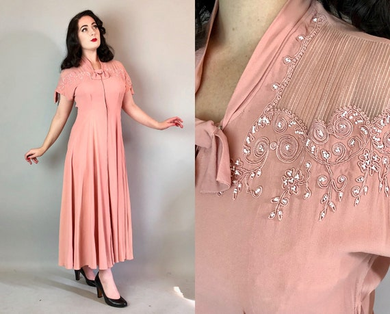 Vintage 1940s Dress | 40s Powder Pink Rayon Crepe Hostess Evening Gown with Sheer Shoulders and Soutache and Bows & White Beadwork | Large